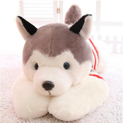 诚招代理 哈士奇抱枕毛绒玩具狗公仔可爱趴趴狗靠枕