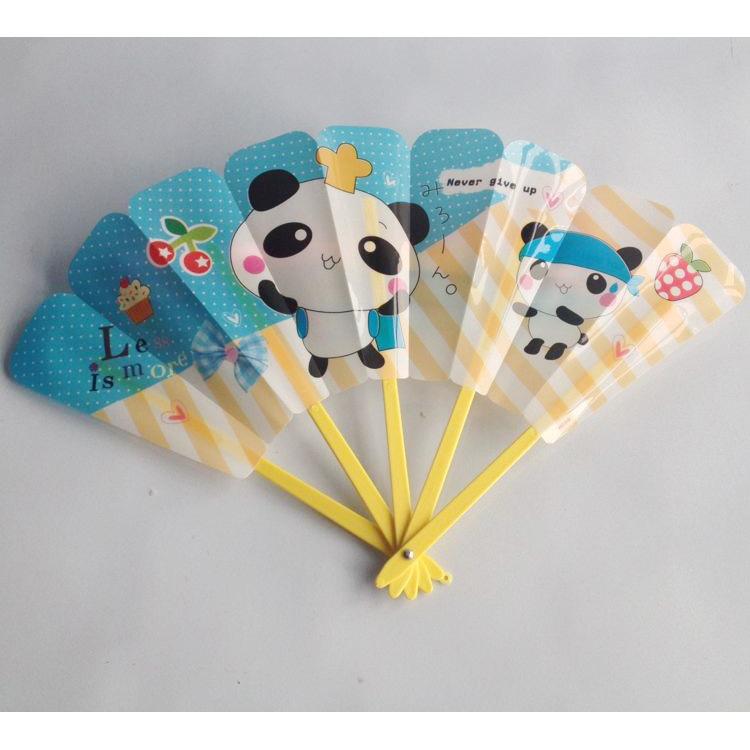 扇子批发 塑料扇 韩国卡通动物五折扇