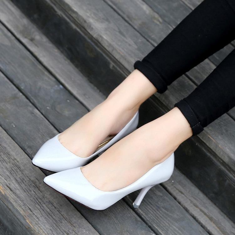 2016秋季新款女士单鞋细跟高跟鞋尖头浅口女鞋34码鞋批发
