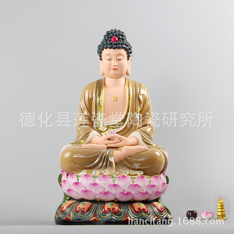 陶瓷如来佛像 德化白瓷12吋~24吋古莲如来棕衣佛像摆件纯手工上彩