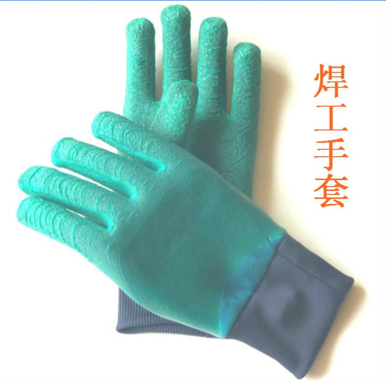 供应乳胶电焊手套中国青岛集芳制造质高价低结实耐用手戴舒服可手套