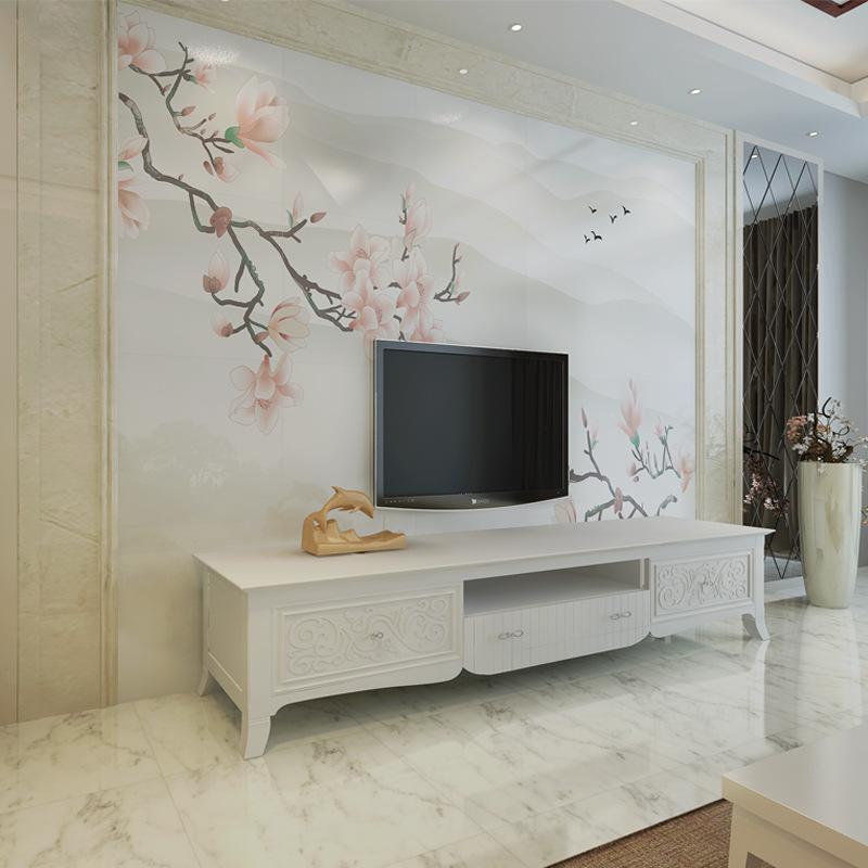 3d瓷砖背景墙 中式现代电视背景客厅沙发墙砖艺术微晶石 玉兰花图片