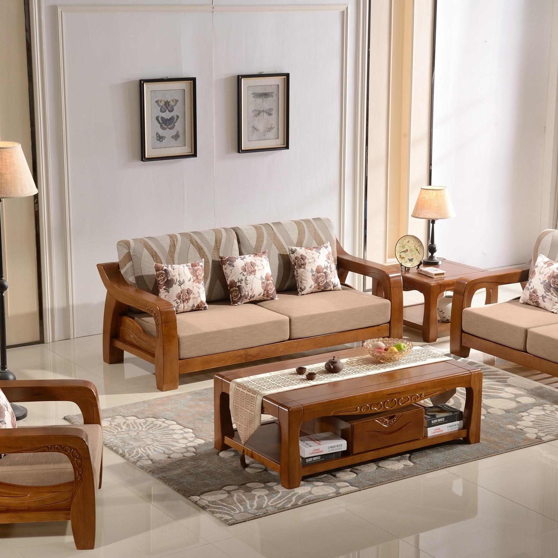 批发实木沙发新中式现代木质沙发橡木客厅家具转角沙发成套组合