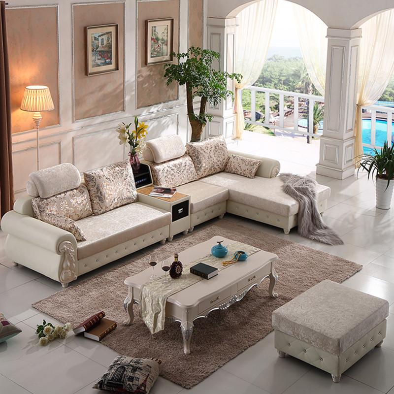 欧式实木沙发组合转角沙发美式乡村布艺沙发简欧皮配布客厅沙发