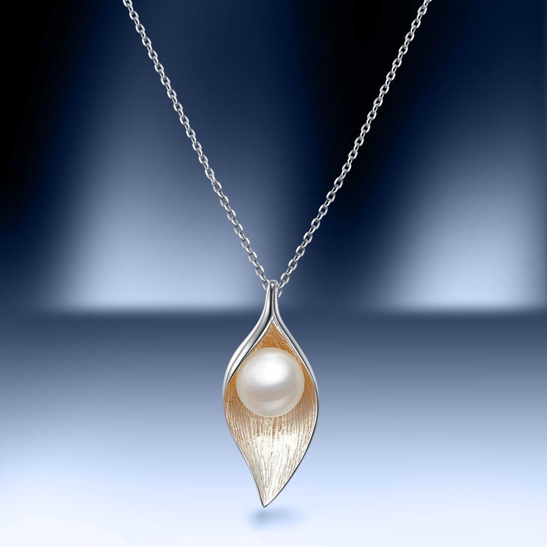 北海珍珠批發    S925銀瓖淡水珍珠項鏈葉之語BYX065