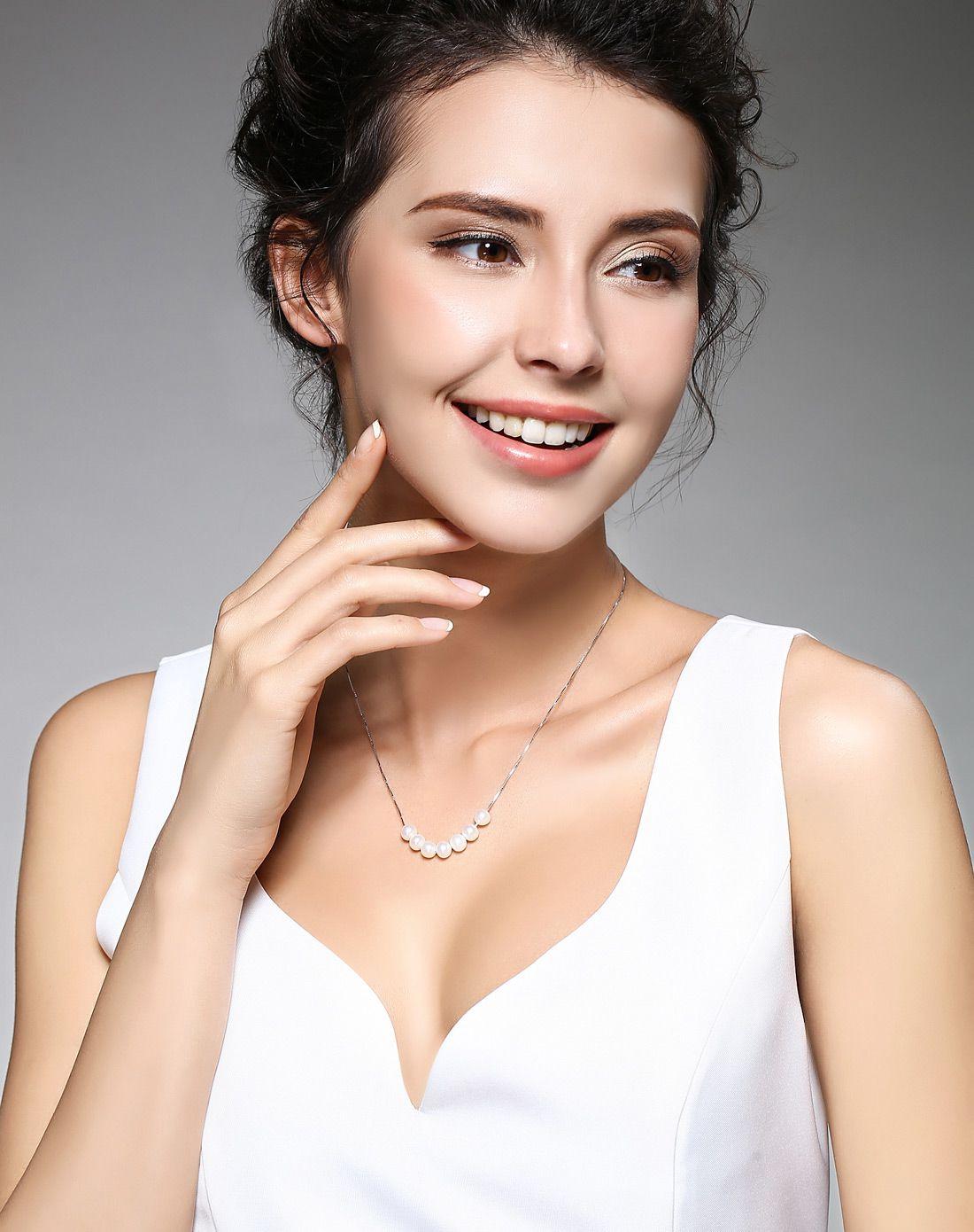 北海珍珠批發    微笑 6-7mm天然珍珠925銀項鏈