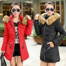 新款冬装羽绒棉服女款 中长款大码女装棉袄 韩版修身加厚棉衣外套