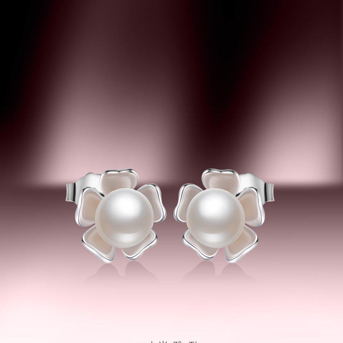 北海珍珠批发   北海淡水珍珠耳钉天然珍珠耳饰 S925银