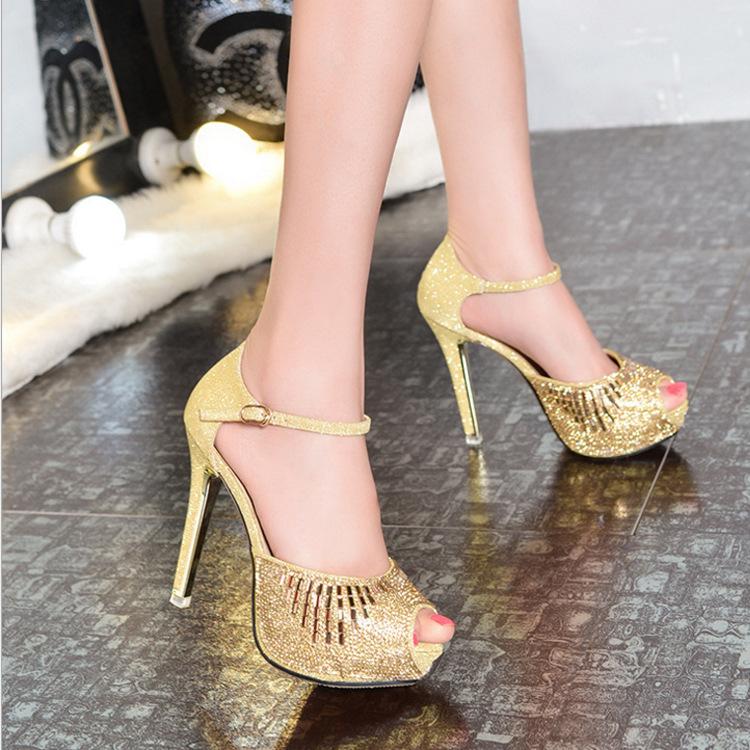 春夏季超高跟女鞋 时尚浅口搭扣细跟高跟鞋鱼嘴工作单鞋一件代发