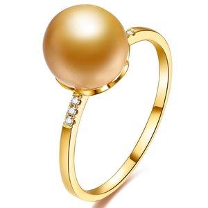 北海金色珍珠批发  9-10mm南洋金珍珠18K金钻石戒指