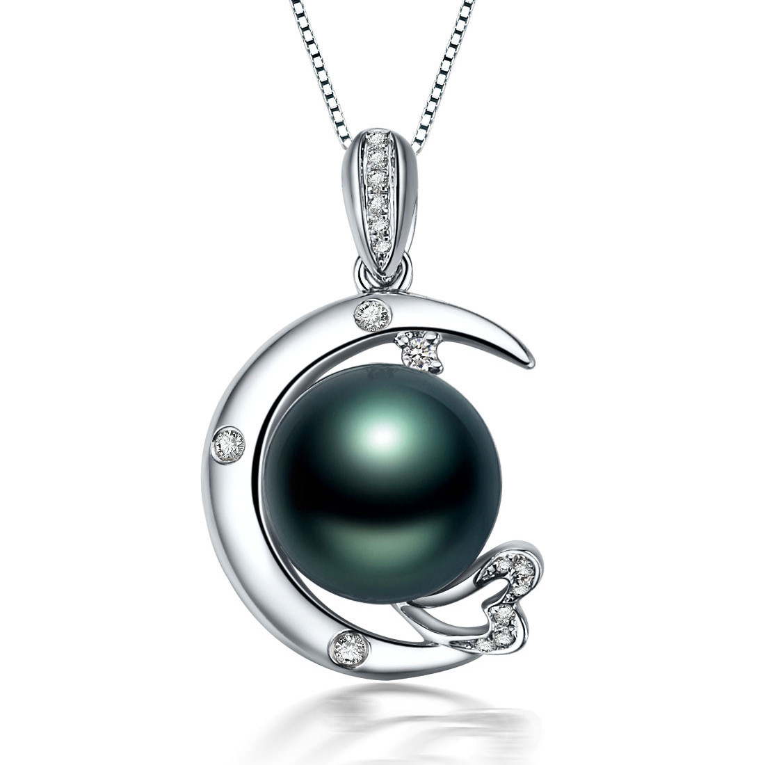 北海珍珠批发   9-10mm大溪地黑珍珠K金钻石吊坠