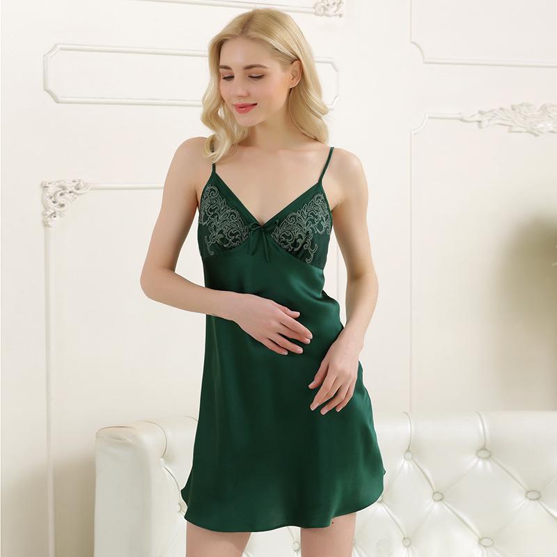 夏季新款真丝吊带睡衣女真丝睡裙性感100%桑蚕丝短袖连衣裙