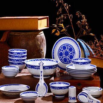 供应 镂空青花瓷碗套装