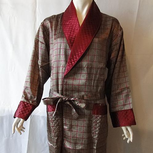 丝绸睡衣  真丝睡衣 顺成纺织丝绸睡衣 格子印花睡袍睡衣男