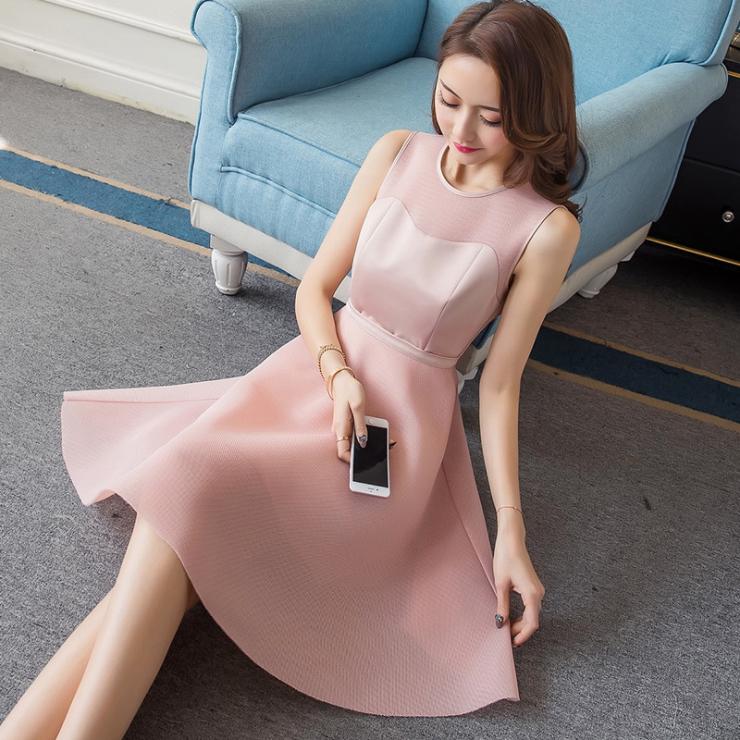 外贸女装 2017夏装新品圆领无袖网纱拼接修身显瘦A字连衣裙