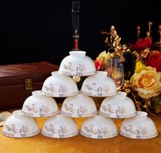 高档骨瓷碗 金花天鹅湖10碗套装 景德镇陶瓷碗米饭碗单碗供应
