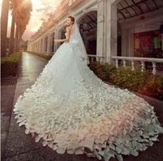 2015最新款羽毛式拖尾婚纱