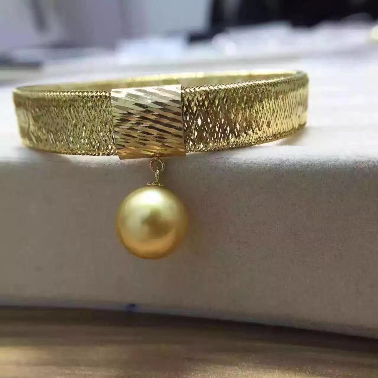 意大利工艺金线编织18k黄金南洋进口11-12mm金色海水珍珠弹力手镯