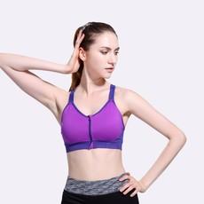 少女运动文胸 拉链性感无钢圈瑜伽跑步健身背心内衣套装一件代发