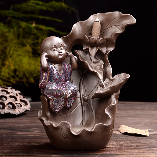创意紫砂大号倒流香炉 钧瓷小和尚 陶瓷檀香熏香炉茶道仿古摆件