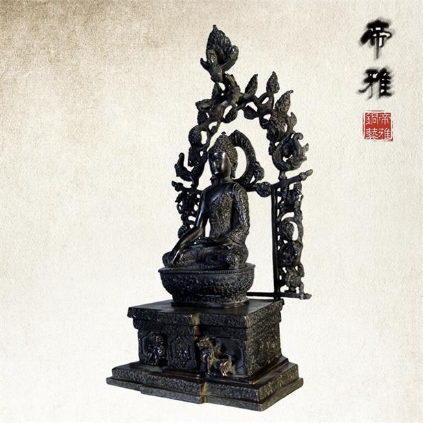 铜兽尊背光佛 开光佛像 仿古青铜器 宗教古典工艺摆件