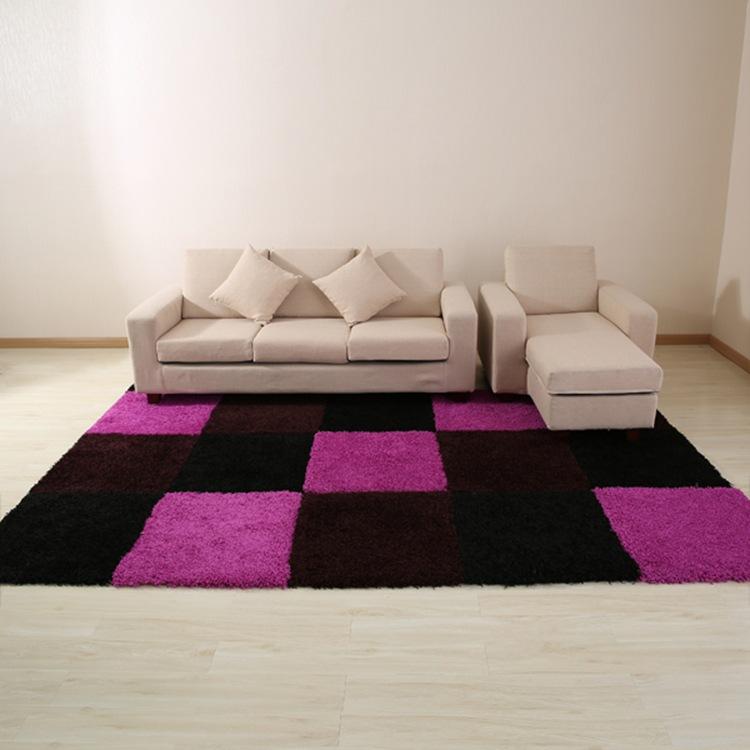 时尚黑色高档拼块客厅茶几沙发卧室大地毯地垫脚垫