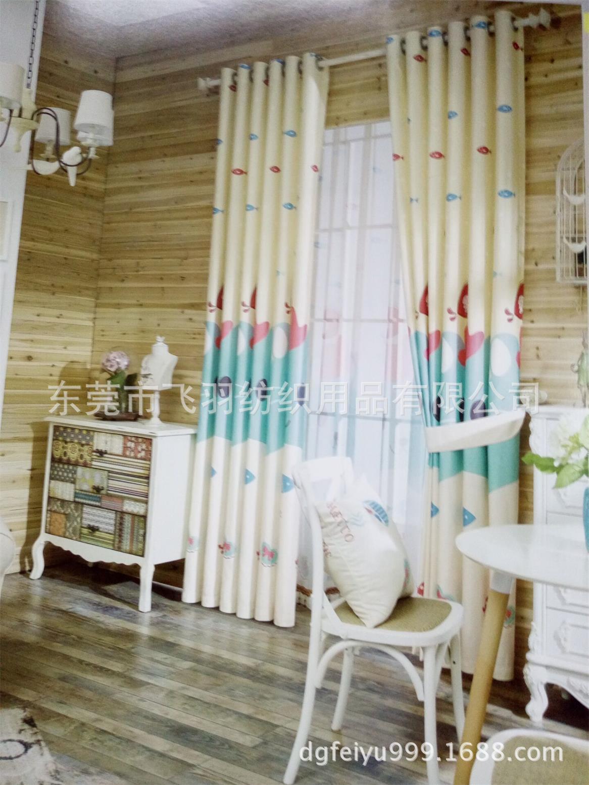 热卖韩式窗帘男孩女孩儿童卧室数码印花遮阳帘价格–