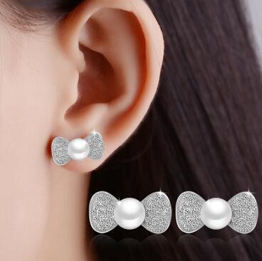 供应 微镶钻锆石蝴蝶结耳环珍珠银耳饰品