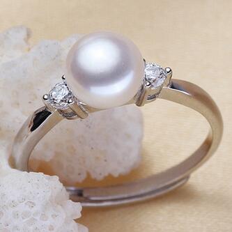 供应 925银天然淡水珍珠戒指活口可自由调节指环大小