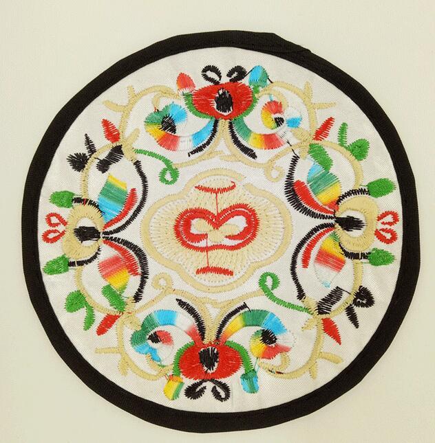民族风刺绣布艺餐垫工艺品 紫砂茶壶隔热垫 花盆盆栽布垫19cm真丝垫