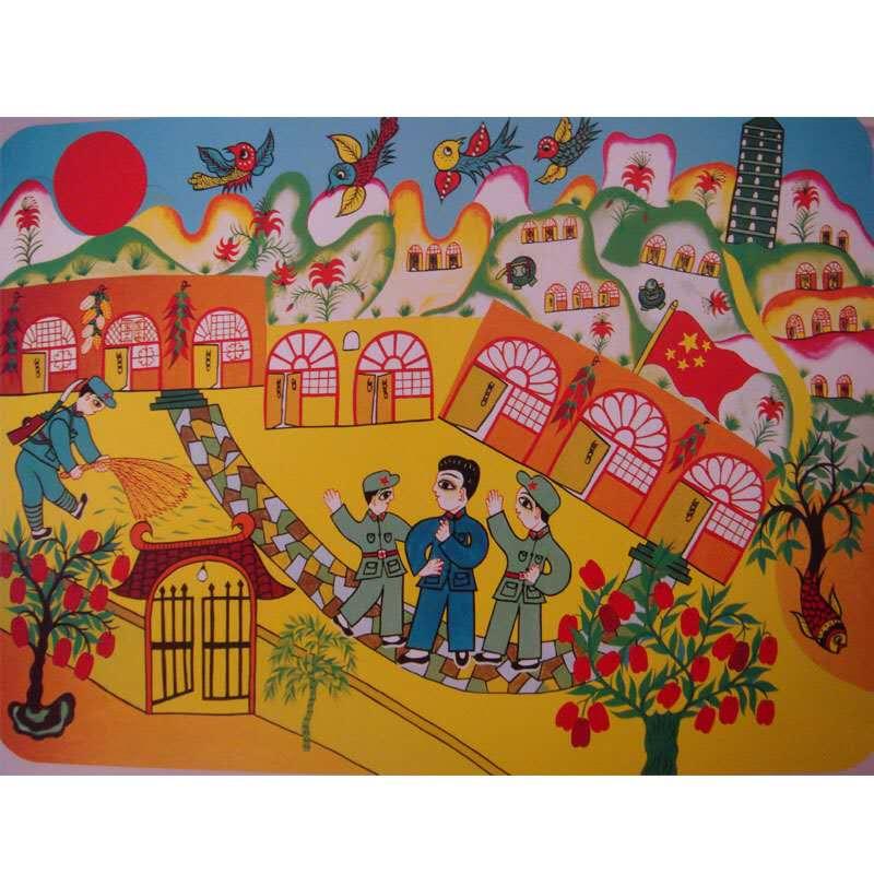 安塞农民画 纯手工艺品