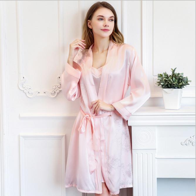 2017夏季新品性感真丝睡裙睡袍两件套装 女式薄款丝绸家居服  睡袍睡衣女