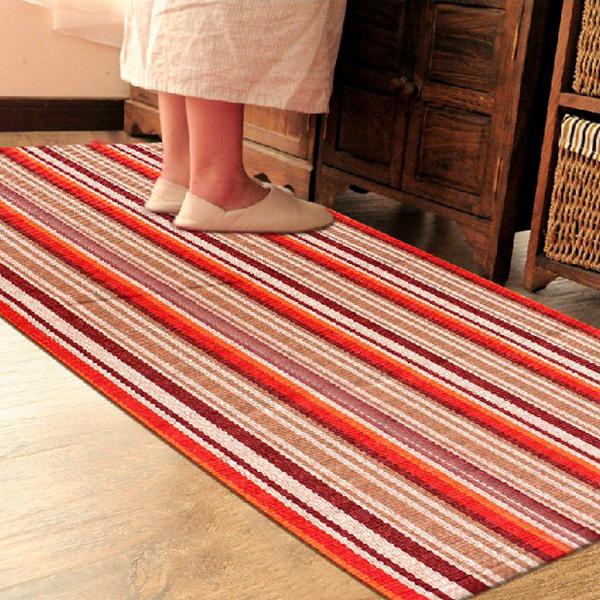 田园风格家居卧室客厅防滑纯棉手工地毯/块毯