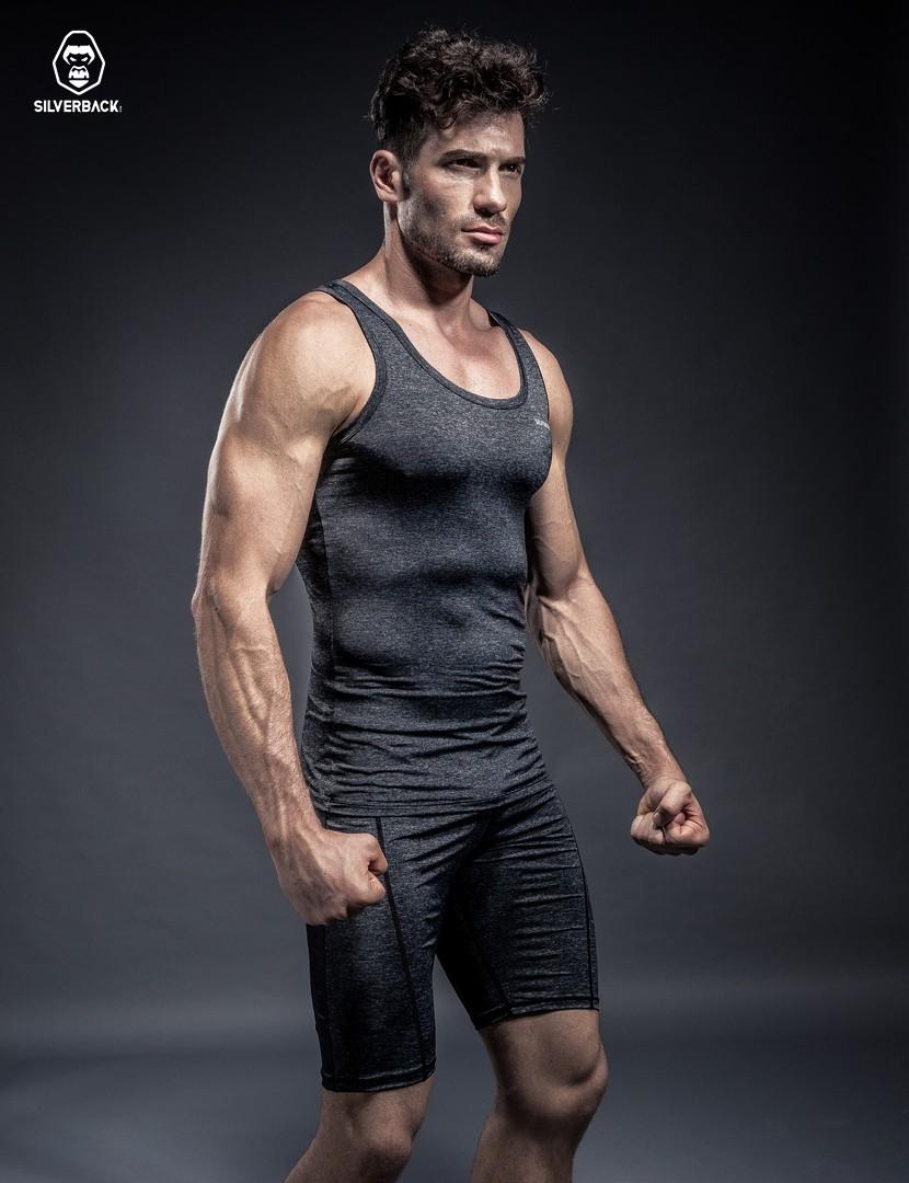 silverback銀背金剛男士籃球運動打底衫健身訓練服無袖背心緊身衣圖片