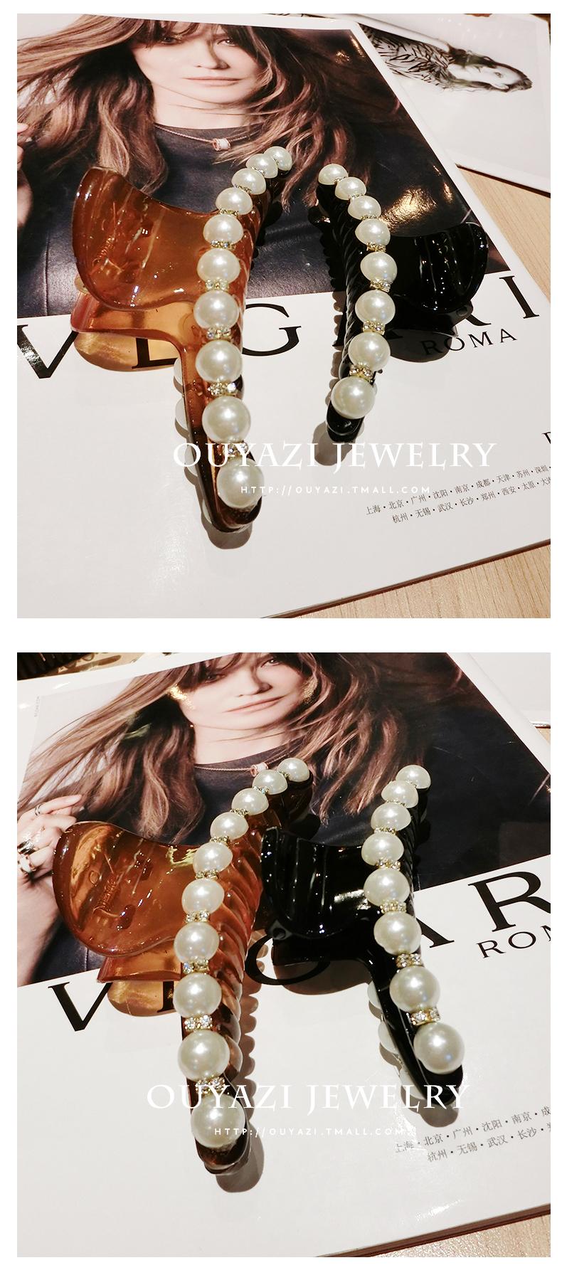 北海發夾珍珠批發   韓國飾品氣質日韓白色珍珠水鑽頭飾發卡子發夾子大號發抓夾