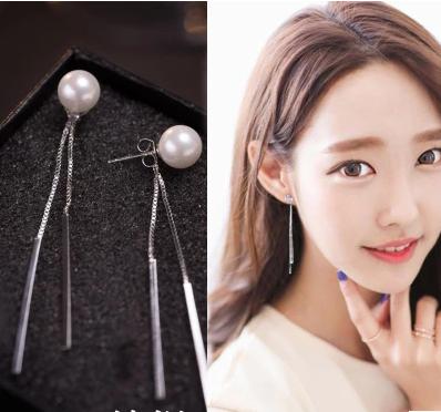 珍珠生產廠家   韓國耳環氣質珍珠流甦長款耳釘女耳線925純銀耳墜防過敏簡約吊墜