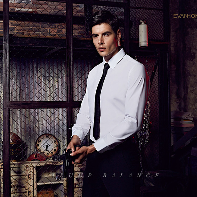 总长无锡工作服定制男士纯棉免烫白色工作衬衫工作服