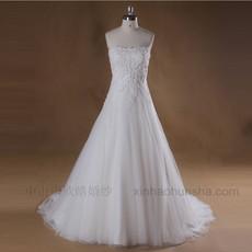 婚纱供应2016抹胸水溶蕾丝钉珠新娘婚纱厂价直销