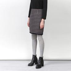 特卖超爱赐CHYOETSU2015冬新款经典千鸟格流苏中长款羊毛毛呢气质流苏女士半身裙批发一件代发