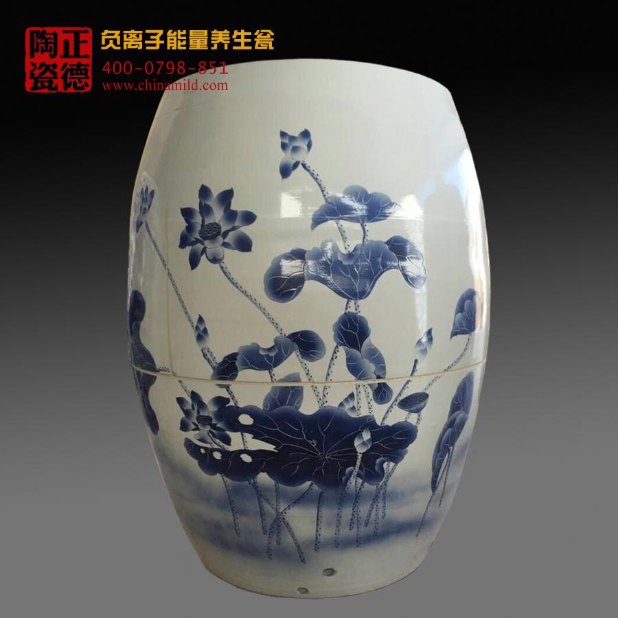 嘉士凡生产陶瓷负离子瓮 青花瓷汗蒸陶瓷瓮