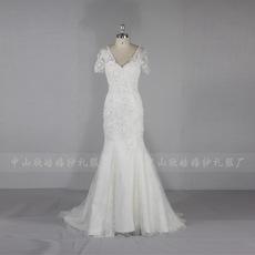 外贸婚纱短袖蕾丝钉珠鱼尾修身新娘婚纱厂价直销