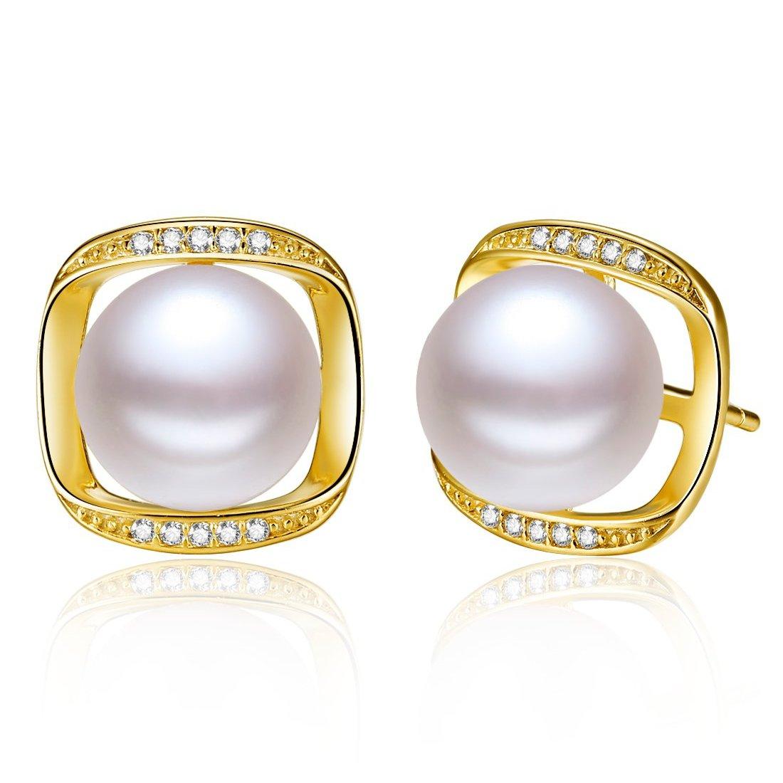 北海珍珠耳环批发  8.5-9mm时尚天然珍珠耳钉 时尚耳环