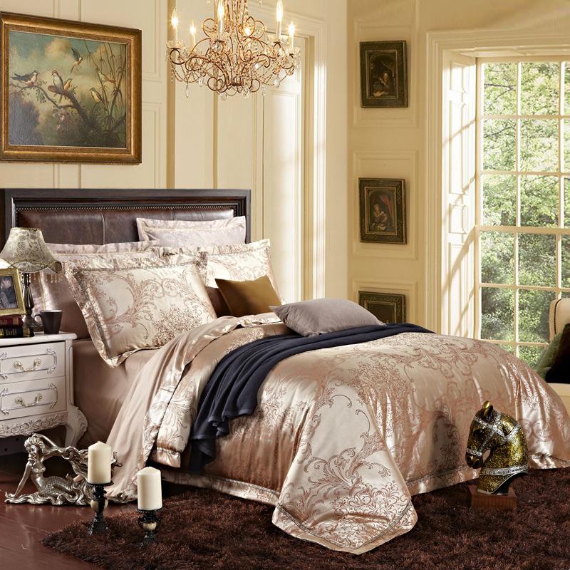 免费加盟 贡缎提花四件套 高档欧式纯棉婚庆床上用品图片