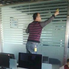 丰台总部基地logo墙公司玻璃贴膜制作