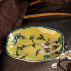 供应定制手绘彩釉陶瓷海棠皂碟创意家装饰品陶瓷工艺品浴室用品肥皂盒