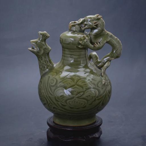 供应古董瓷器 仿古瓷器仿宋耀州窑鸡口倒装壶倒流壶摆件