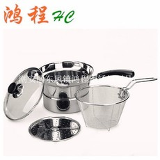 不锈钢多用面条锅 厨房捞面锅 单柄奶锅 无磁多功能锅