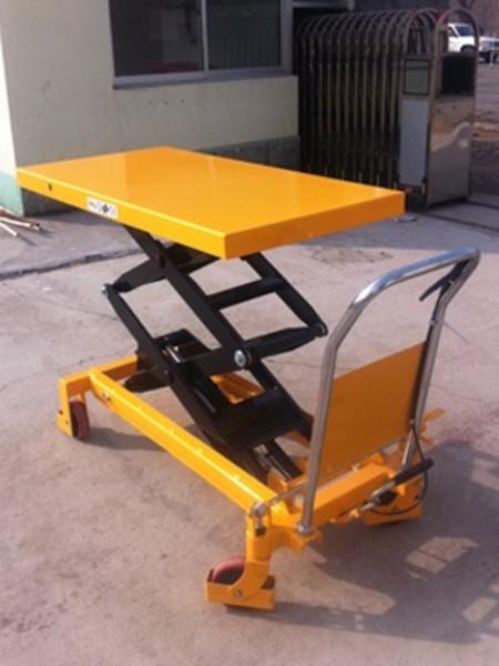 梅州液压升降机 移动式液压手推车 脚踏式升降小推车图片