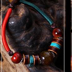 钧瓷手链 可爱手串 窑变多彩釉 瓷首饰 民族复古文艺风 孔家钧窑