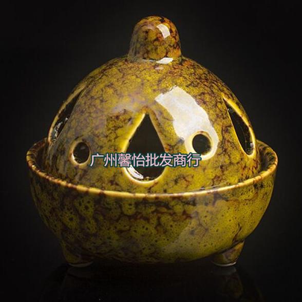 陶瓷器小熏香炉多孔香薰炉小香炉钧瓷工艺品 多款颜色